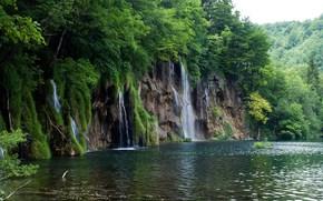 водопад, водоём, деревья, пейзаж