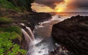 海, 海岸, 岩, 夕日, 滝