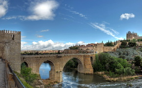 cities, spain, Spain, fortress, bridge, river, city.