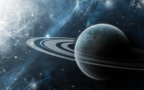 Art, space, universe, planet, Saturn, Ring