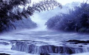 fiume, cascata, alberi, Arte