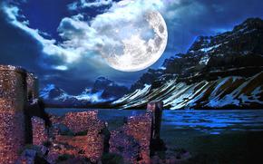 горы, планета, руины