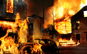 fuego, fuego, edificio, mquina, Creatividad