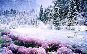 лес, деревья, цветы, лебеди