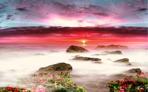 закат, море, небо, цветы, пейзаж