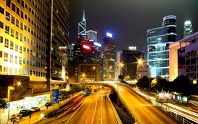 дорога, дорога, город, здания, машина, свет, авто, ночь, фонари, огни