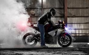 motocicletta, Honda, motocicli, fumare