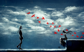 Birds, guy, clouds, girl, Tranquil