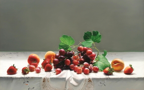picture, still life, apricots, Art, tablecloth, lace, table, grapes, strawberry, fruit, Berries