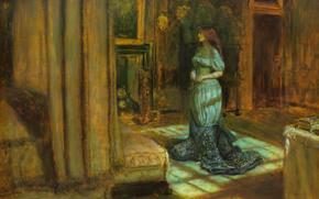 картина, рыжая, кровать, комната, шкатулка, девушка, юбка, камин, вечер, дверь, корсет, темнота, балдахин