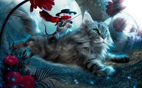 gattino, gatto, fantasia, giocattolo, volare, fiori