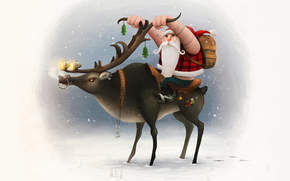 New Year, snow, Horn, background, Biker, New Year, Santa Claus, Deer