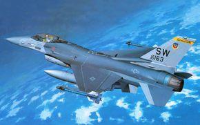 истребитель. четвертого. поколения., дословно, легкий, сокол, самолет, Сражающийся, многофункциональный, американский