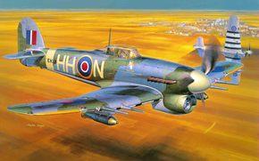 истребитель, самолет, одноместный, Хоукер Тайфун, бомбардировщик, британский