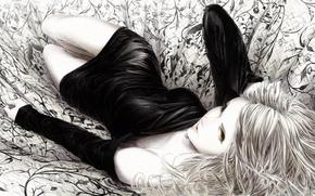 монохромное, черно-белое, арт, лежа, девушка, ткань, рисунок, платье