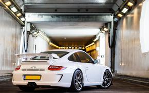Porsche, tunnel, Porsche, bianco