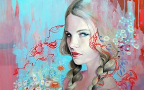 hair, paints, pattern, picture, blonde, Art, blue, Spit, Flowers, eyes, background, face, view, girl