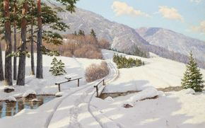 Boris Bessonov, alberi, ringhiera, traccia, immagine, paesaggio, gazza, derive, Montagne, fiume, foresta, Alberi, ponte, neve, pino, inverno