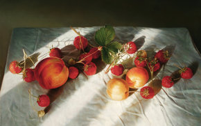 peach, light, fruit, picture, Art, apricots, summer, still life, Berries, strawberry, shadow