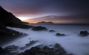 sea, rocks, sunset