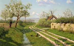 copaci, acoperi, imagine, Pui, osea, iarb, Boris Bessonov, peisaj, sat, primvar, loj, floare, rutier