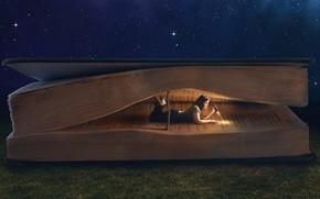 коллаж, книга, лежа, чтение, ночь, трава, гигантская, девушка, фонарь, темно