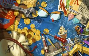 money, photo, nut, Crystals, key, screwdriver, coins, Keys, scheme, Art