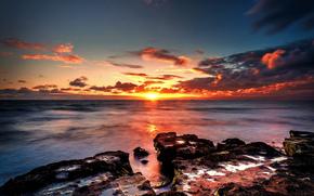 sea, stones, horizon, sun, sunset, clouds