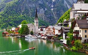 Dachstein, schiera, montagna, Montagne, Alpi, Hallstatt, Hallstatt, lago, Barche, casa, edificio, chiesa, natura, paesaggio