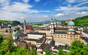 Osterreich, salzburg, Austria, Salzburg, city, home, building, Cathedral, architecture, clouds, Trees, greens