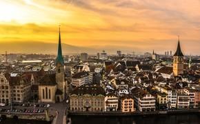 Svizzera, strada, citt, macchinario, zurigo, cielo, strada, edificio