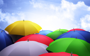 colorido, Paraguas, cielo