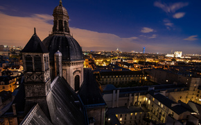 building, dome, home, architecture, city, Roof, France, Paris, night