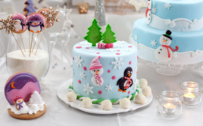 dessert, table, Sweets, cookies, Cakes, candy, New Year, Christmas, figures, baking, Candles, Holidays, New Year