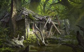 деревья, арт, дом, болото, заброшенный, руины
