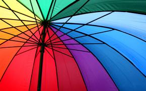 металл, разноцветные, спицы, зонт, радуга, спектр