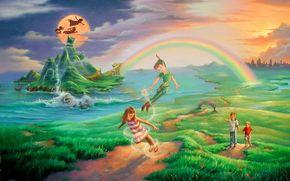 children, Peter Pan, magical realism, rainbow, island, skull