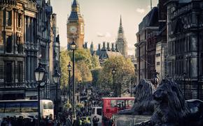 улицы, Биг Бен, лондон, дома, турысты, город