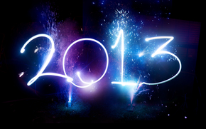 цифры, Новый год, праздники, небо, год, фейерверки, дата, Новый Год, ночь