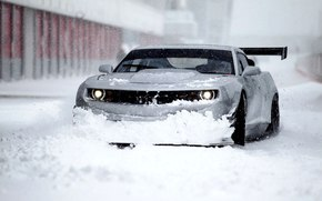 Красиво, Зима, Снег, Chevrolet, Автомобиль, Камаро, Передок, Шевролет, Обоя