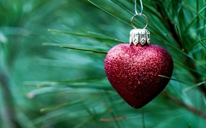 decoration, heart, red, Christmas, heart, New Year, needles, Holidays, toy, New Year, branch, spruce, Tree, Christmas