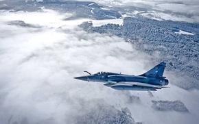 лес, Мираж, многоцелевой истребитель четвёртого поколения, Франции, туман, ВВС
