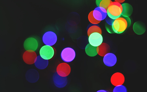 variegated, bokeh, lights, color, holiday