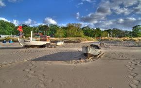 Barche, estate, alberi, case, spiaggia, sabbia