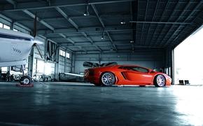 ламборгини, Lamborghini, профиль, ангар, оранжевый, авентадор, диски