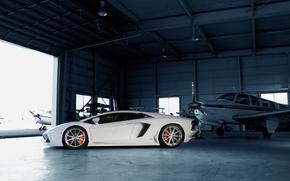 самолёты, ламборгини, диски, белый, профиль, Lamborghini, авентадор, ангар