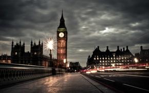 Palace of Westminster, Big Ben, Cloudy, evening, England, United Kingdom, people, exposure, road, London