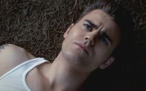 cara, serie, Paul Wesley, The Vampire Diaries, gotas, ojos