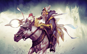 rider, mage, Guardian of Light, Gandalf, Art, Gandalf, staff, DotA, hero, horse, scepter
