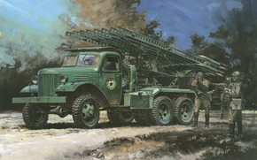 volley., machine, Soviet, Katusha, Night, period, Artillery, To, Reactive, Art, Combat, picture, training, strokes